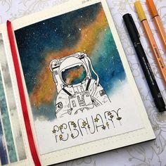 #bulletjournal #february #bullet #journal #luty #bujo #galaxy #astronaut #watercolor