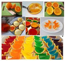 Rainbow jello in orange peels, just make it non-alcohol of course! via The Whoot