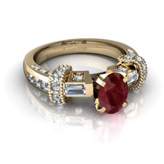 ruby & diamonds set in yellow gold.