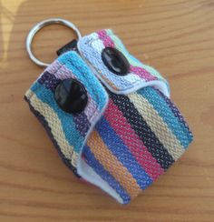 Mini Cloth Nappy / Diaper Keychain Woven Wrap Scrap Didymos Cleo