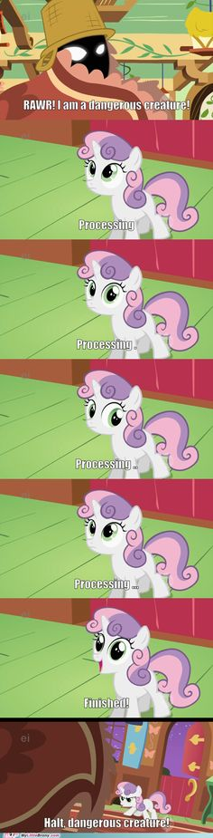 SweetieBelle.exe Seems to Be Taking a Long Time to Respond. She must be running in Windows 97.