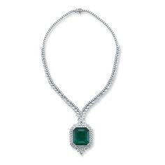 73.02 Carat Colombian Emerald-Cut Emerald Diamond Platinum Link Necklace | From a unique collection of vintage link necklaces at https://www.1stdibs.com/jewelry/necklaces/link-necklaces/