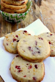 Cranberry Orange Almond Shortbread Cookies | Foodsweet