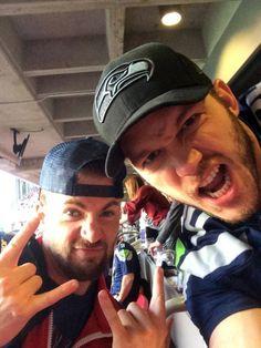 Chris Evans and Chris Pratt at the Super Bowl, Feb. 1, 2015.