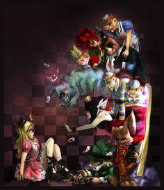 "Love this Alice in Wonderland Illustration. Alice against the ""World"" Alice In Wonderland Artwork, Dark Alice In Wonderland, Alice In Wonderland Illustrations, Adventures In Wonderland, Lewis Carroll, Alice Sweet Alice, Tattoo Tradicional, Inspiration Artistique, Chesire Cat"