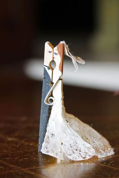 So cute wedding couple clothespin, Imagine this clipped onto A Wedding Gift Bag…