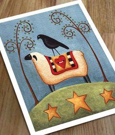 Folk art Sheep with Crow Print by JennysBarn on Etsy, $20.00