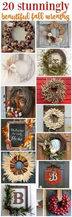 20 Fall wreaths to create With this many options, you are sure to find one that is just right for your home. If not, improvise. That is one of our favorite things about DIY crafts. You can always change up colors, sizes, materials etc to make it your own. #FallDecor