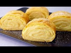 Rotolo Karpatka di crema pasticcera # 182 - YouTube Custard, Sweet Recipes, Peanut Butter, Food And Drink, Rolls, Cheese, Healthy, Resep Pastry, Delicious Recipes
