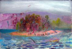 La isla, acrylic on canvas, 65 x 100 cm. 2012. Cuadro en venta de la Serie Paisajes Naturales del artista plastico Diego Manuel