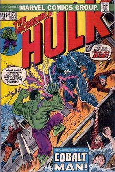 """Marvel's reprint of """"X-Men"""" issue 34 in issue 79 inspired """"Hulk"""" editors to bring Cobie back here! Ralph Roberts created his own Iron Man armor using a different metal. Here, using upgraded armor, he uses the radioactive power of cobalt to teach the world the lesson that nuclear power is too powerful to handle - by fighting gamma-mutated Hulk."""