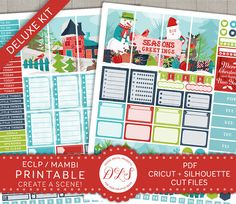 Printable Planner Stickers, Christmas Printable Planner Stickers, Erin Condren Stickers, Happy Planner Stickers