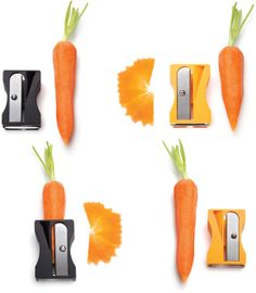 """Karoto, the vegetable """"sharpener"""" -- """"Peel, sharpen & curl ribbons of carrots, zucchini, cucumbers and other similar shaped vegetables to decorate and add flair to your salads and dishes."""" [Original, designed by Avichai Tadmor: http://monkeybusiness.co.il/product.cfm?MB_cId=16_pId=201=1]"""