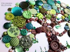 8x10 Button Tree of Life Button Art with Swarovski by BellePapiers, $104.00