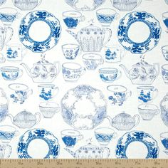 Tea Garden Devonshire Tea Cotton Fabric - Blue by Beverlys.com