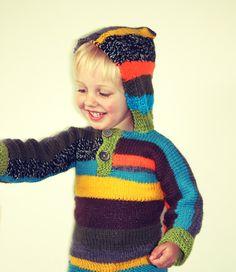 Striped knitted hoodie boys. €54.95, via Etsy.