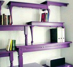 Purple Alice in Wonderland table shelves