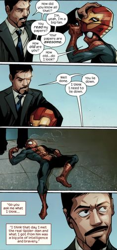 Tony Stark and Spider-Man<Now Tony, Peter, and Banner can all be Science Bros! (: