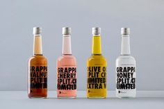 Packaging designs that have the use of typography and color. #bottle #cool #inspiration