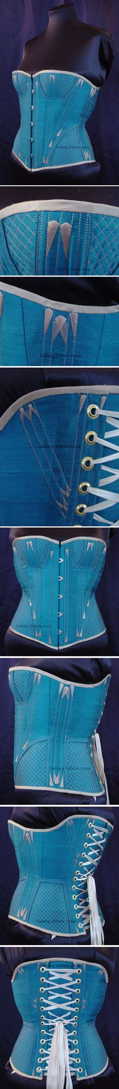d8f28ecdcd3 This is a quilted gore Victorian overbust corset. It has peacock dupioni  silk cover material