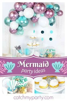 Dive into this wonderful Mermaid birthday party! The balloon decorations are fantastic!! See more party ideas and share yours at CatchMyParty.com #catchmyparty #partyideas #mermaidbirthdayparty #girlbirthdayparty
