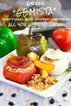 GEMISTA Greek stuffed vegetables - Gemista is one of the most popular Greek recipes traditionally vegan and healthy that recalls the richness of the Mediterranean gardens! Vegetable Rice, Vegetable Recipes, Greek Recipes, Vegan Recipes Easy, Zucchini, Eastern Cuisine, Mixed Vegetables, Side Dishes, Greek