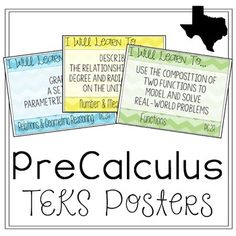"This is a set of 50 posters of the Texas PreCalculus TEKS.All PreCal TEKS are included.Each 8.5""x11"" poster includes the…"