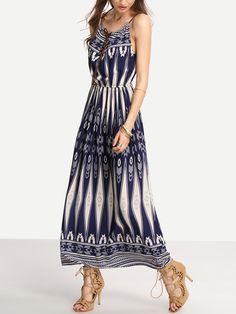 Blue+Tie-Neck+Tribal+Print+Cami+Long+Dress+16.99