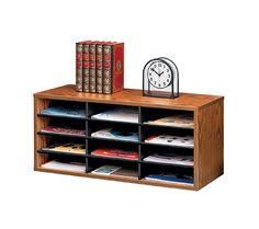 Fellowes Desktop Organizer, 12 Compartment, Medium Oak