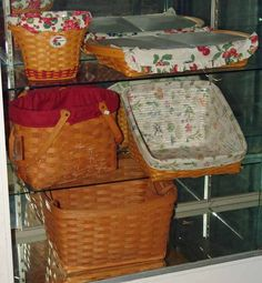 Longaberger baskets ~  I'm pinning them because they are popular but I, personally, prefer homemade baskets...