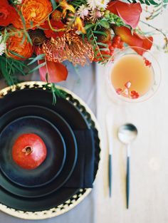An edgy modern wedding shoot with a palette of blood orange, onyx, and smoky gray with an open back wedding dress by Amanda Wakeley! Orange Wedding Colors, Fall Wedding Colors, Autumn Wedding, Red Wedding, Wedding Things, Wedding Season, Perfect Wedding, Wedding Flowers, Cowgirl Wedding
