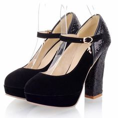 Round Toe Chunky Heel Black Ankle Strap Pumps with Sequins