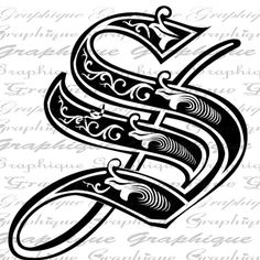 LETTER Initial S Monogram Old ENGRAVING Style Type by Graphique