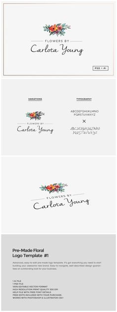 Pre-Made Floral Logo Template #1 by The Design Label on @creativemarket