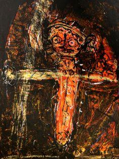 """FABIEN DUPONT: artiste handicapé intellectuel du collectif """"ARTELIER"""" techniques mixtes sur carton contrecollé sur bois 55x65 cm  www.hang-art.fr/Fiches_artistes/Expo_07/Fiche_Esat.html"""
