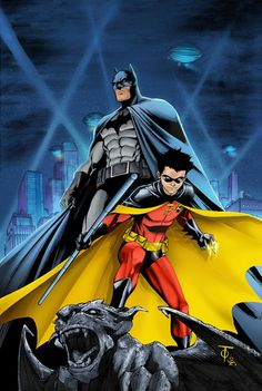 Tim Drake and Bruce Wayne as Batman and Robin