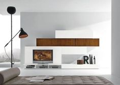 minimalist design TV wall unit MODULART 227 Presotto Italia