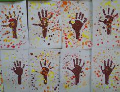 Pintar con los  dedos y las  manos es una actividad que les gusta mucho a los niños/as, pintarse las manos, sentir la textura de la pintura, su temperatura, olor, descubrir colores nuevos… son experiencias que despiertan sus sentidos. Autumn Crafts, Autumn Art, Class Activities, Sensory Activities, Art For Kids, Crafts For Kids, Arts And Crafts, November Crafts, Finger Painting
