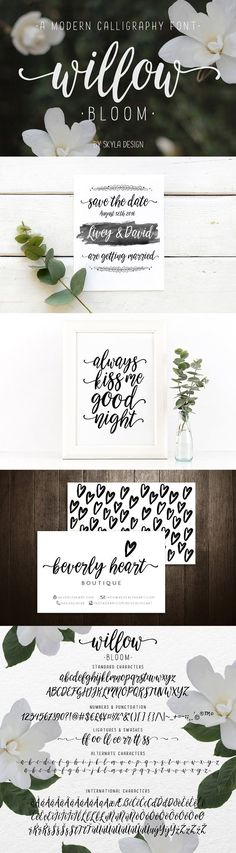 Willow Bloom is a beautiful, modern calligraphy font with a dancing baseline. This hand-lettered script will look gorgeous on all your designs, wedding invites, brandingmaterials, logo's, business cards, and quotes.$16