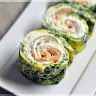 Low Carb : Lachsrollen mit Spinat und Frischkäse