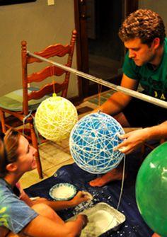 Como fazer uma Luminária com Linhas ou Barbante - Recicla Home Design