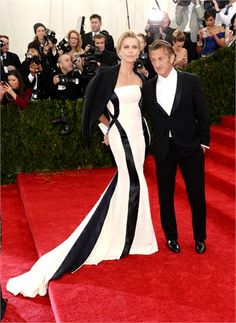 Charlize Theron at MetGala 2014 in Dior Couture and Sean Penn
