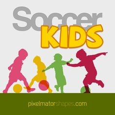 Soccer Kids A collection of silhouettes depicting children playing soccer by Ivan Alvarado. Shapes For Kids, Kids Soccer, Children, Shapes For Toddlers, Young Children, Boys, Kids Shapes, Kids, Child
