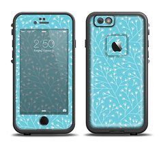 The Blue and White Twig Pattern Apple iPhone 6/6s Plus LifeProof Fre Case Skin Set from DesignSkinz