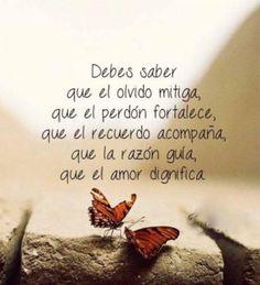 Debes saber q el olvida mitiga, el perdón fortalece, el recuerdo acompaña, la razón guía, el Amor DIGNIFICA