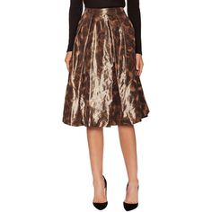 Pink Tartan Women's Leopard Taffeta Midi Tabitha Skirt - Brown ($179) ❤ liked on Polyvore featuring skirts, brown, brown skirt, brown knee length skirt, leopard midi skirt, taffeta skirt and brown midi skirt
