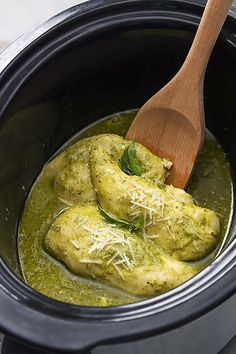 Pesto Ranch Crock Pot Chicken Thighs substitute pork chops too