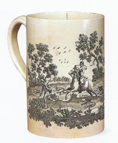 Queen's ware mug, overglaze-printed with a hunting scene, a typical Sadler and Green print, c1770.