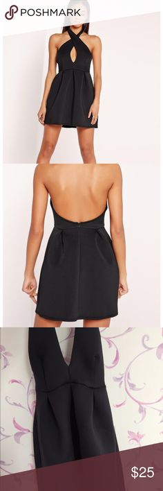 Missguided bonded scuba cross neck skater dress Super cute black dress that is flattering and perfect for homecoming or a night out Missguided Dresses Mini