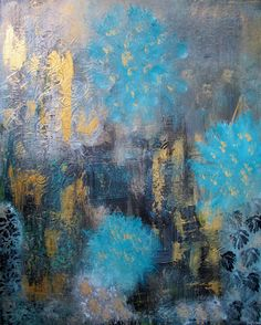 Original Abstract Painting16x 20 Turquoise Gold by Jimarieart